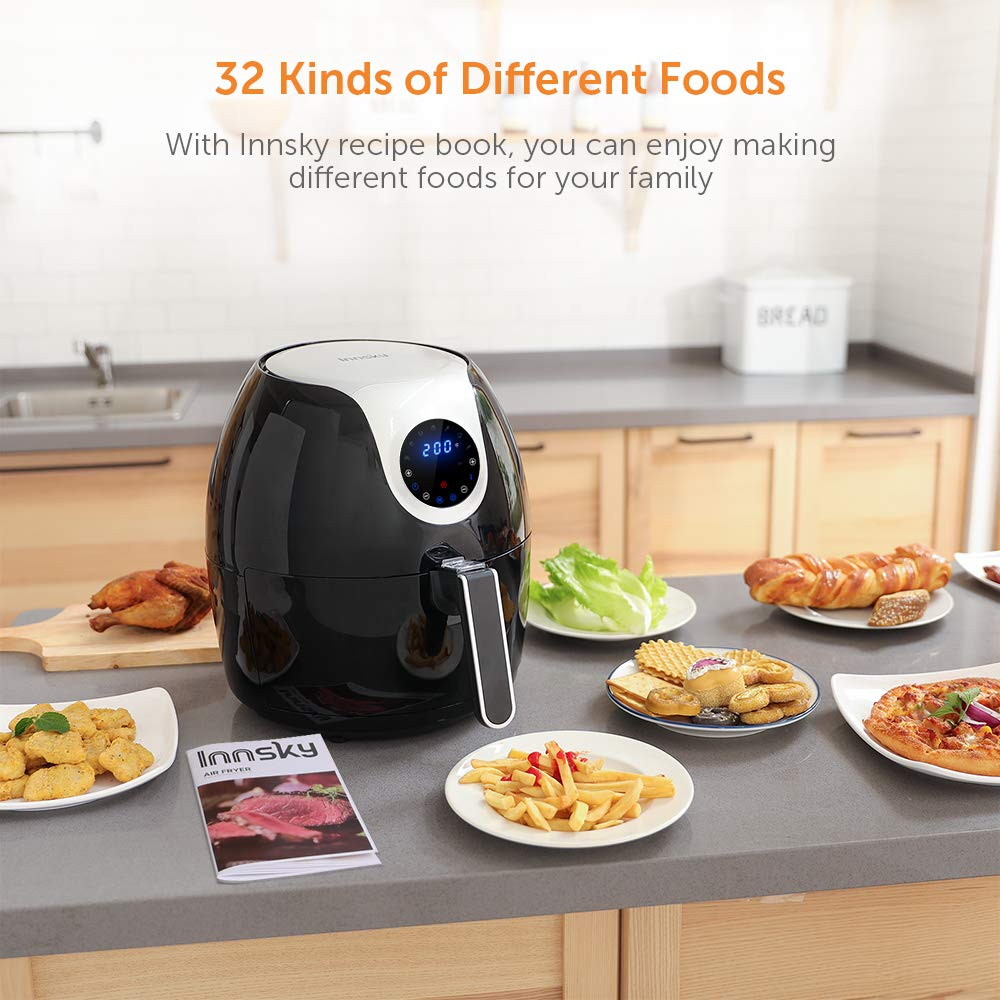 Innsky 6.3 Qt Air Fryer( 32 Main Recipes &Grilling Rack Included), 1700W Electric Hot Air Fryers XL Oven Oilless Cooker, LED Digital Touchscreen, Auto Shut Off, 7 Cooking Presets, Preheat & Nonstick Basket 18+3 Months Warranty by Innsky (Image #6)