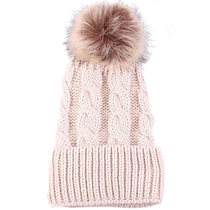 e2cf4891555786 Amlaiworld Strickmützen, Frauen Mode halten warme Wintermützen gestrickt  Wolle säumen Hut (Beige): Amazon.de: Bekleidung