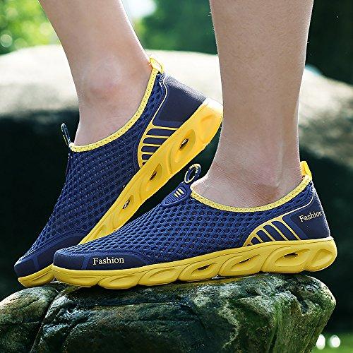 VILOCY Männer Frauen Breathable Quick Dry Wasser Aqua Schuhe Outdoor Mesh Sportschuhe Walking Sneaker Dunkelblau