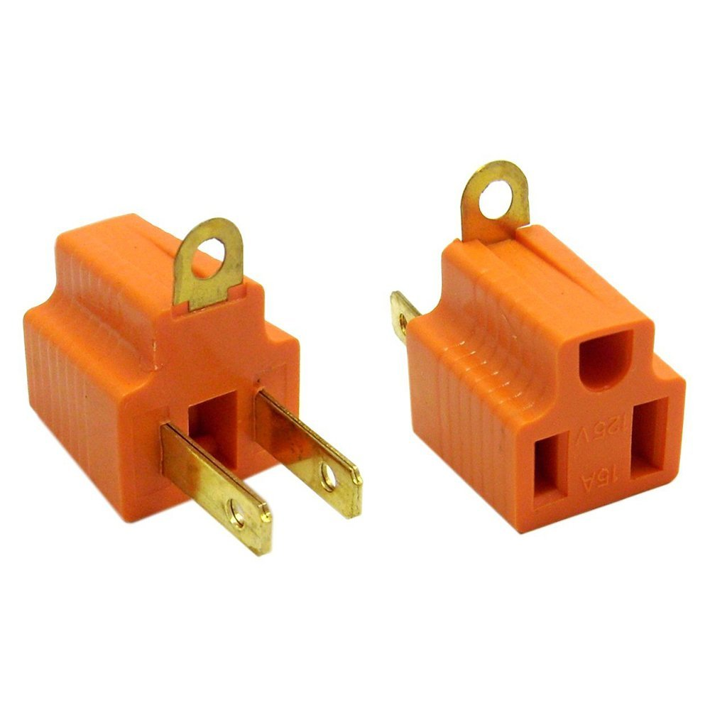 ACL ACL-371126 Ac Outlet's Grounding Converter (3 Pins To 2 Pins), Ul Certified, Orange, 2 Piece