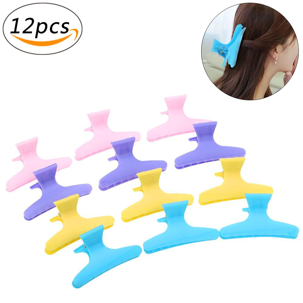Plastic Hairpin Clip Clamps Butterfly Hair Claw Salon Hairdressing Colorful Transparent Hairdressing Tool (12Pcs) Ouchver