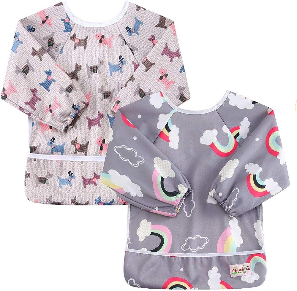 OHBABYKA Baby Waterproof Sleeved Bib for Infant Toddler,6-24 Months