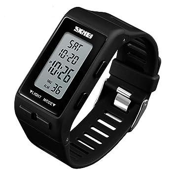 ChengHui Pantalla Reloj electrónico Doble Tiempo Alarma par Reloj Digital Que Reloj Creativo de los Deportes