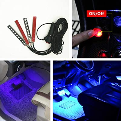 NERLMIAY 4pcs Car Interior Decoration, Atmosphere Light-LED Car Interior Lighting Kit, Waterproof, Interior Atmosphere Neon Lights Strip for Car (blue): Automotive