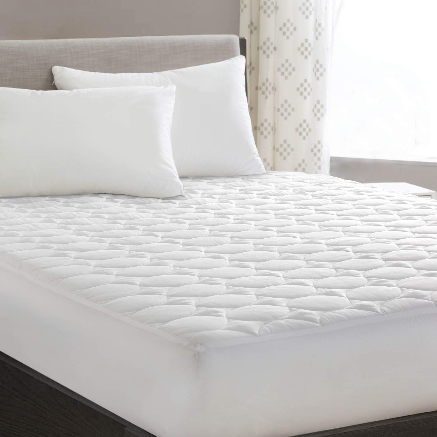 "HYLEORY Queen Mattress Pad Cover Quilted Fitted with Stretches to 18"" Deep Pocket White Cooling Hypoallergenic Mattress Topper Protector (60""x80"")"