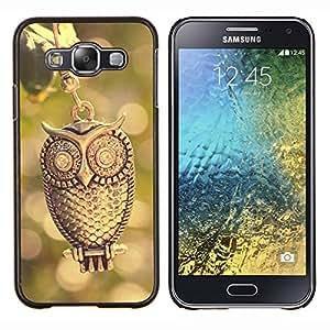 LECELL--Funda protectora / Cubierta / Piel For Samsung Galaxy E5 E500 -- Diseño del búho del oro --
