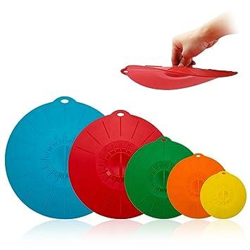 Silicona Tapa De Succión, 5 pc coloridas cubiertas alimentos se adapta para diversos tamaños de cuencos, sartenes, o contenedores en microondas cubiertas ...