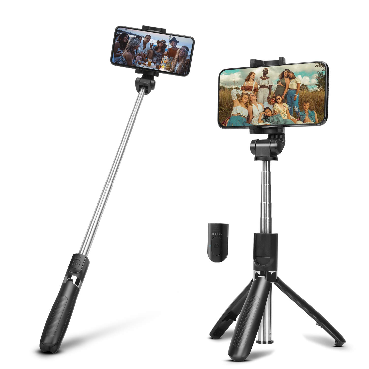 Selfie Stick Tripod with Bluetooth Remote,TEECK Extendable Wireless Cell Phone Tripod,iPhone Holder for Tripod Compatible with iPhone X/XS Max/iPhone 8/8 Plus iPhone 7/7 Plus,Galaxy S9/S9 Plus/S8/S7