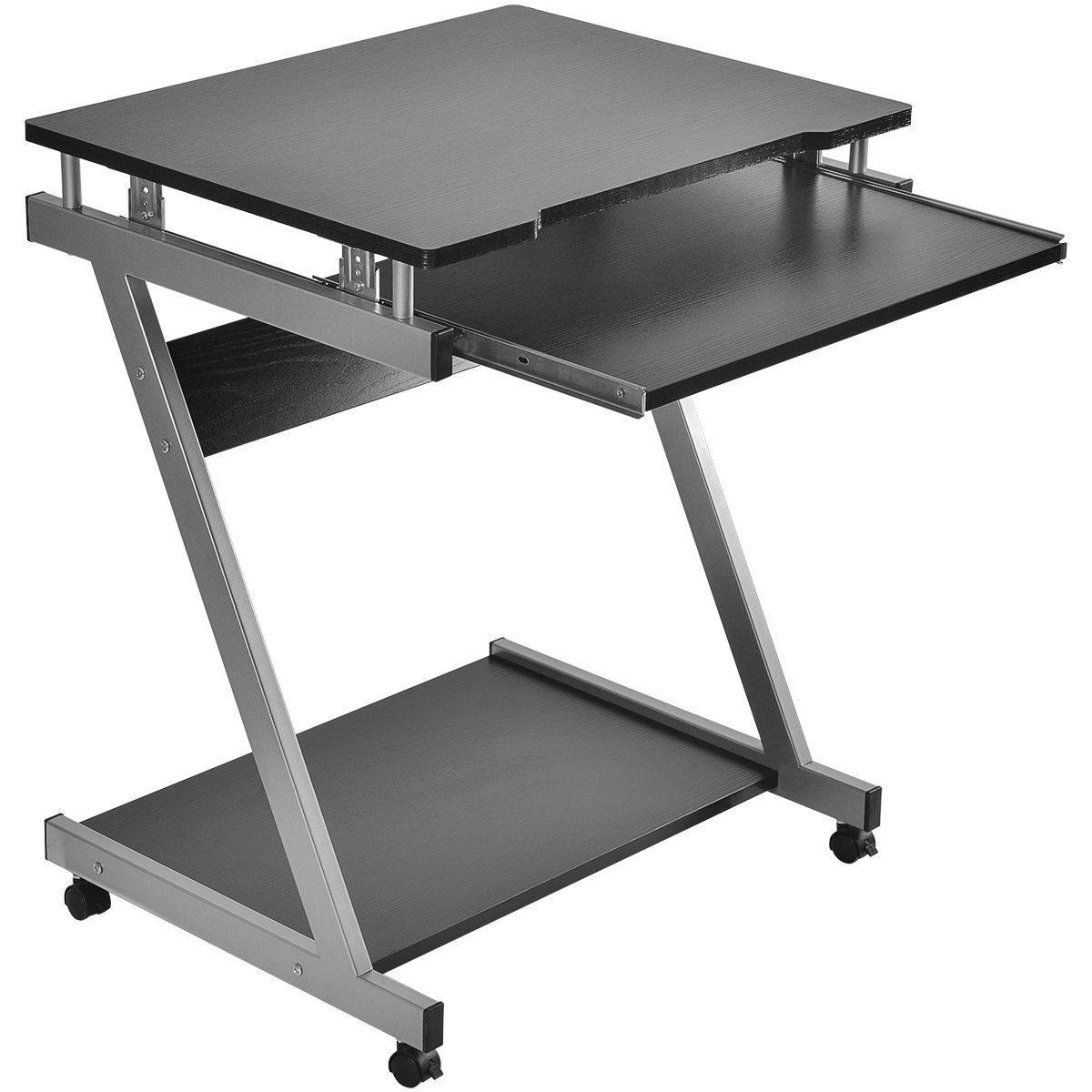 LIFE CARVER Small Z Shaped Computer Desk PC Laptop Table with Sliding Keyboard for Small spaces or Places 4 Wheels Table Trolley Study Workstation