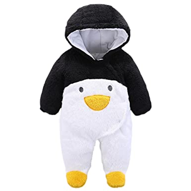 bfc77997964 JIANLANPTT Toddler Boys Girls Winter Romper Cute Cartoon Flannel Baby  Onesies Black Penguin 0-3months