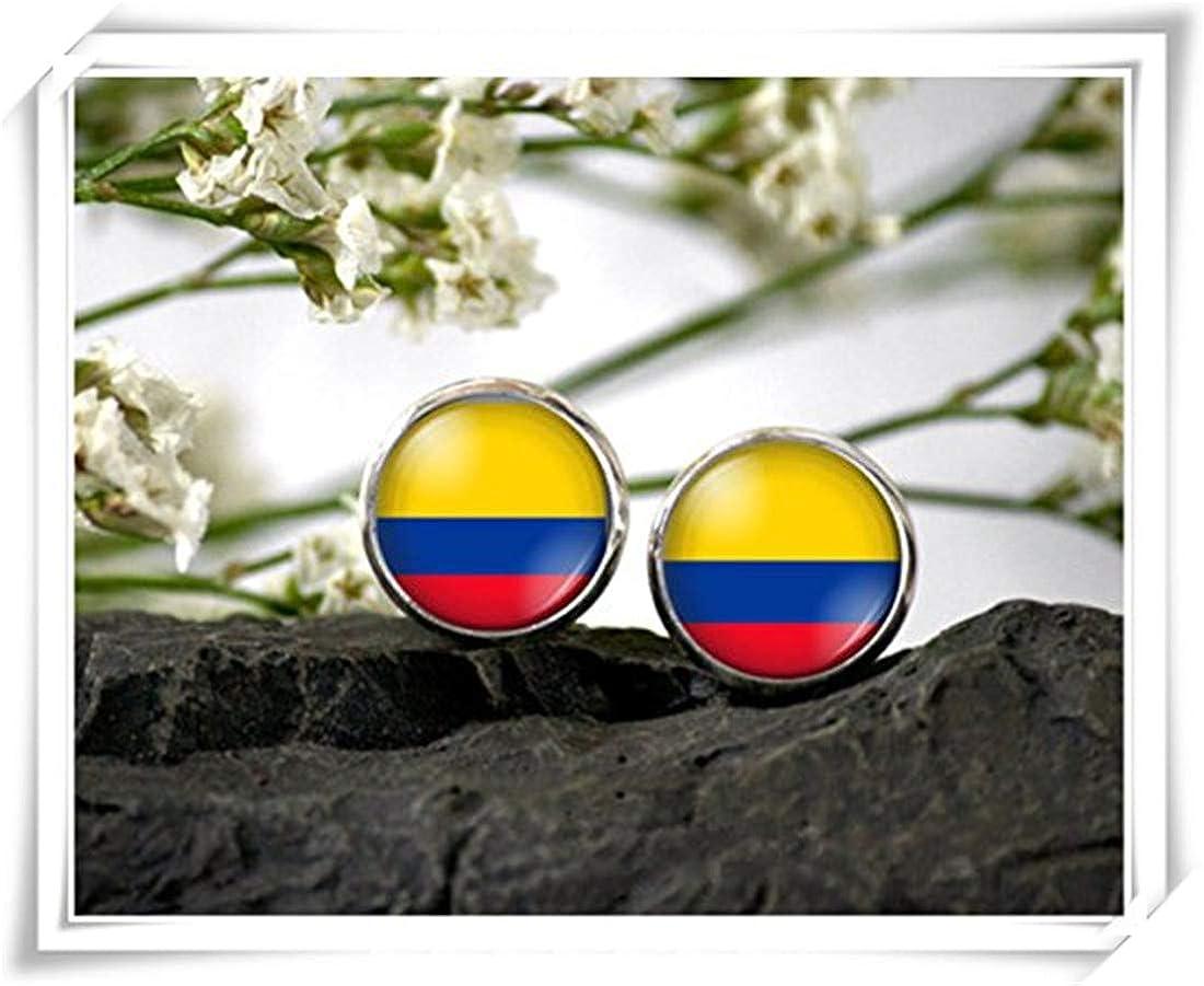 JUN Pendientes de Tuerca con Diseño de la Bandera Colombiana, Cristales de Cúpula Hechos a Mano: Amazon.es: Joyería