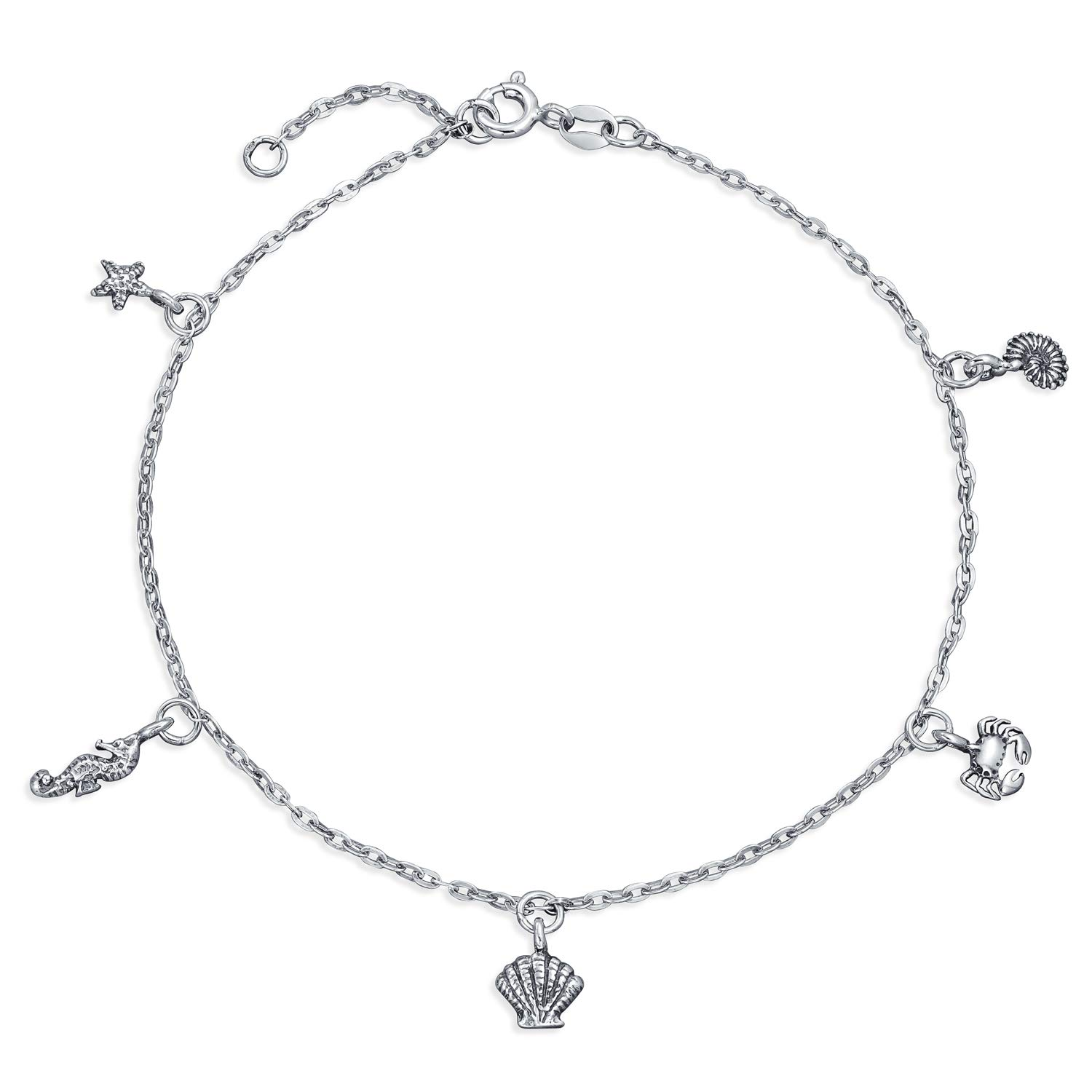 Bling Jewelry Nautical Sea Life Charm Sterling Silver Anklet 9.5 Inch PMR-A10006