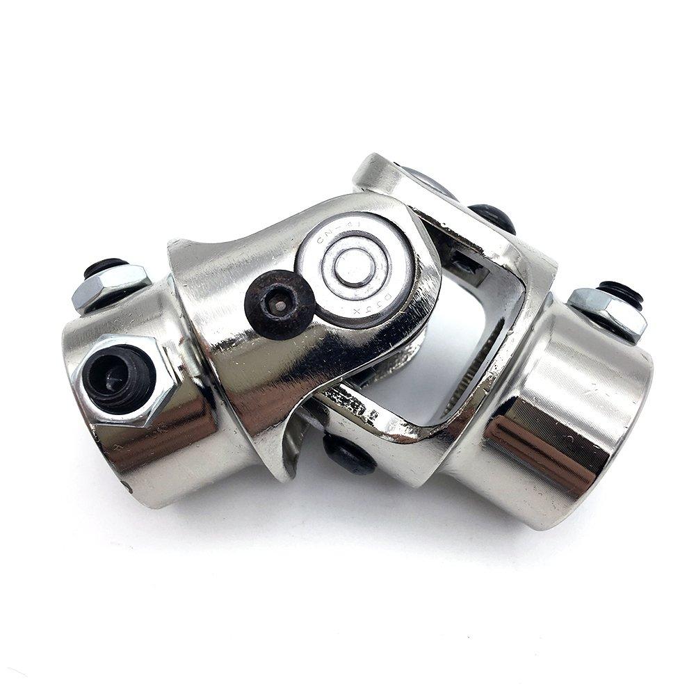Ensun 3/4''-36 Spline x 3/4'' DD Nickel Plating Single Steering Universal U-Joint, Maximum Working Angle: 35° Degree, Total Length: 83mm (3-1/4'')