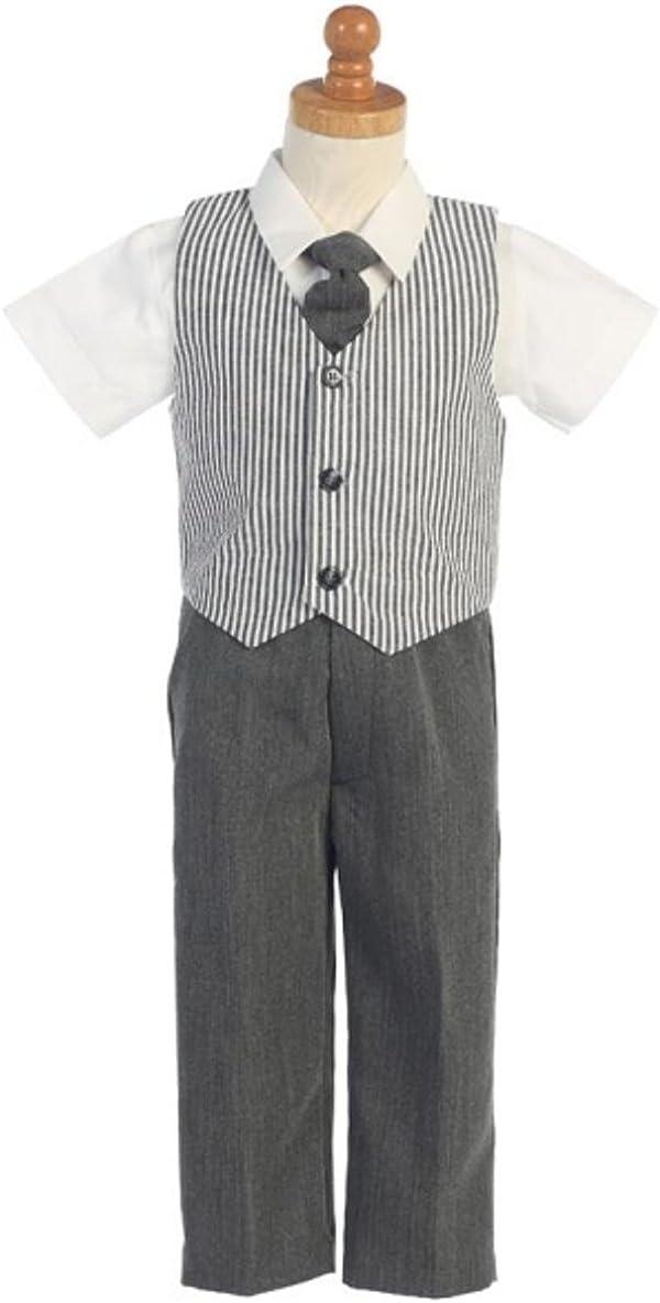 7 Charcoal Seersucker 4 Pc Vest /& Pants Set