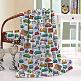 HAIXIA Throw Blanket Doodle Various Home Interior Elements Armchair Table Mirror Elements Doodle Style Multicolor