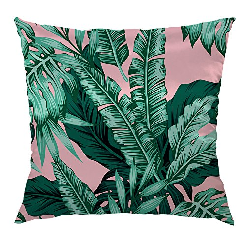 HGOD DESIGNS Banana Leaf Throw Pillow Case,Tropical Green Leaves Satin Pillow Cushion Case Throw Pillow Covers 18x18 inch Green,Pink (Pillows And Green Pink)