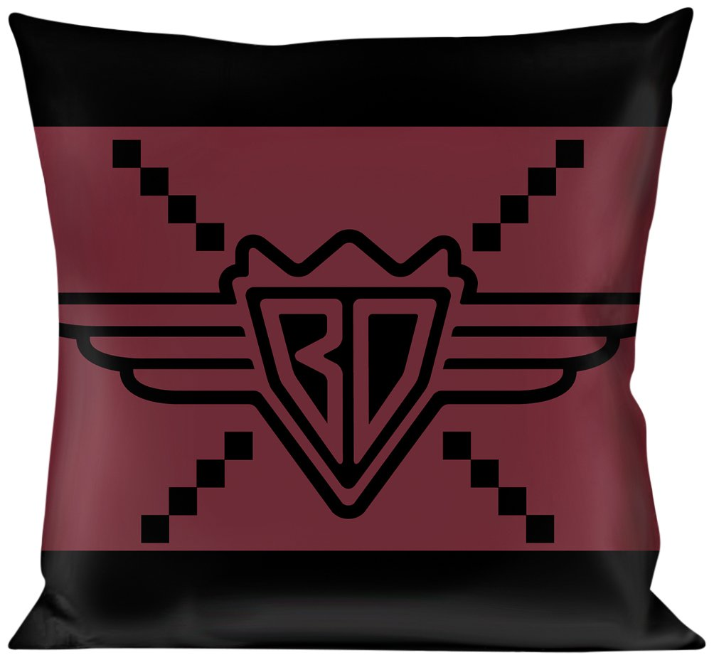 Buckle Down BD Monogram2 Red/Black Throw Pillow, Multicolor