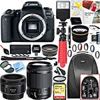 Canon EOS 77D 24.2 MP CMOS (APS-C) DSLR Camera (Body) w/ Wi-Fi & Bluetooth w/ Tamron 18-200mm Di II VC All-In-One Zoom Lens + Canon EF 50mm f/1.8 STM Prime Lens Plus 64GB Accessory Bundle