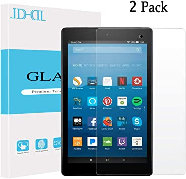 2-PACK Tempered Glass Screen Protector Film For Amazon Kindle Fire HD 8/' 2018