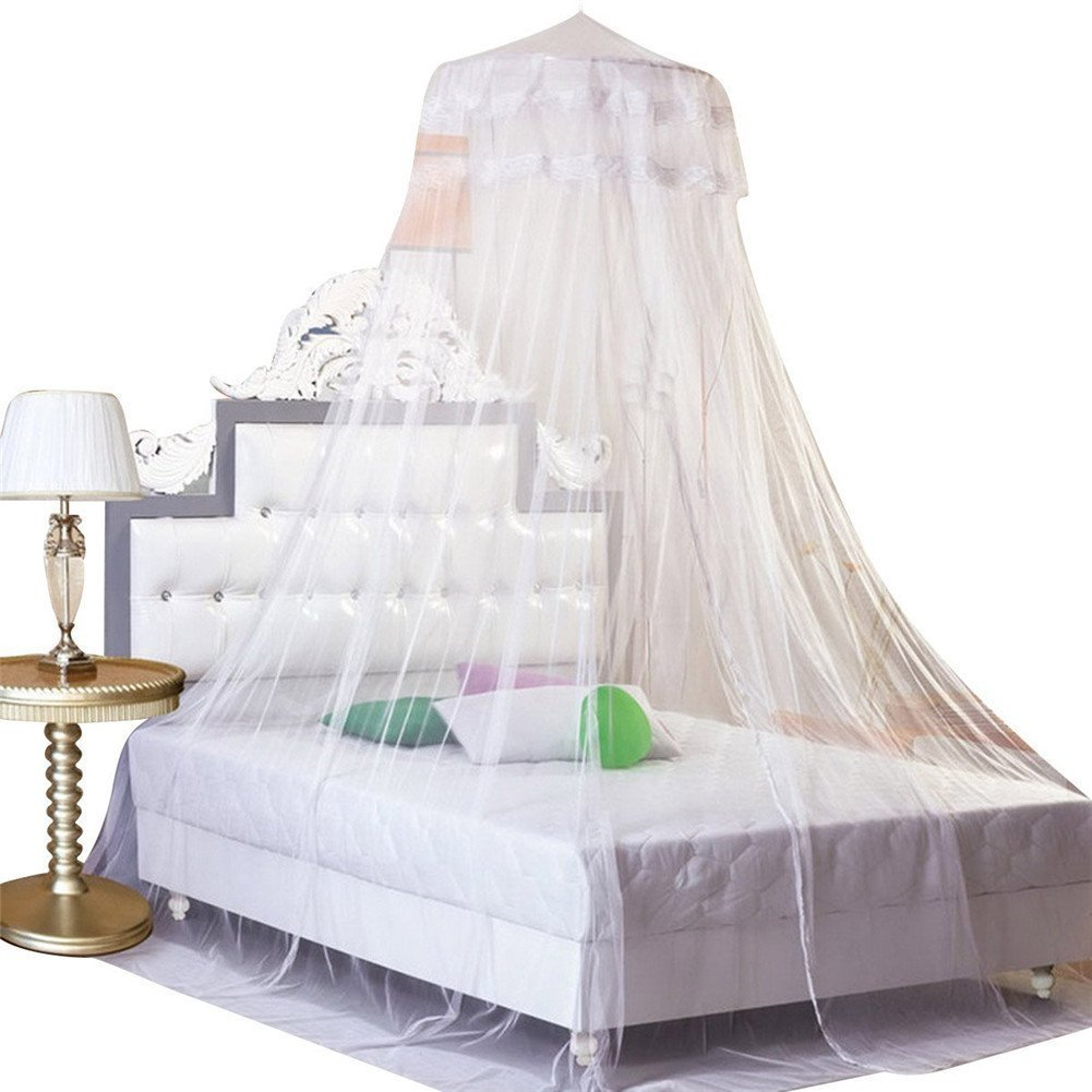 Housweety New Round Lace Curtain Dome Bed Canopy Netting Princess Mosquito Net (White) HOUSWEETYG00616-S