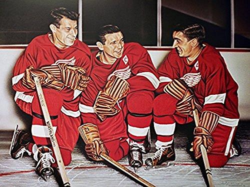 Buyartforless Canvas Gordie Howe/ABEL/Lindsay Detroit Red Wings by Darryl Vlasak 16x12 Painting Print on Wrapped Canvas Memorabilia Detroit Hockey Legends. Made in The USA!