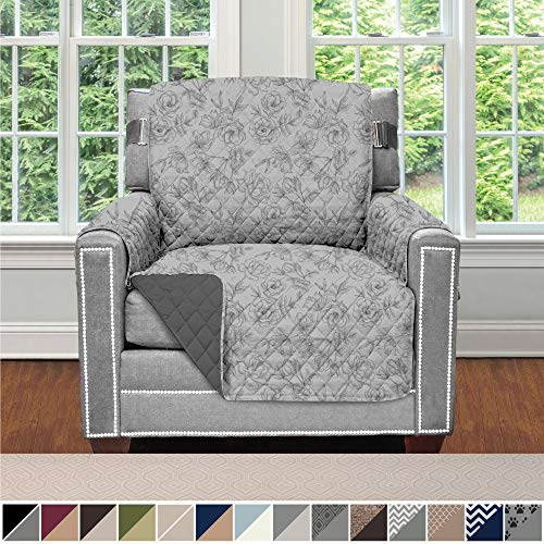 Sofa Shield Original Patent Pending Reversible Chair Protector for Seat Width to 23 Inch, Furniture Slipcover, 2 Inch Strap, Chairs Slip Cover Throw, Armchair, Vintage Floral Light Gray Charcoal