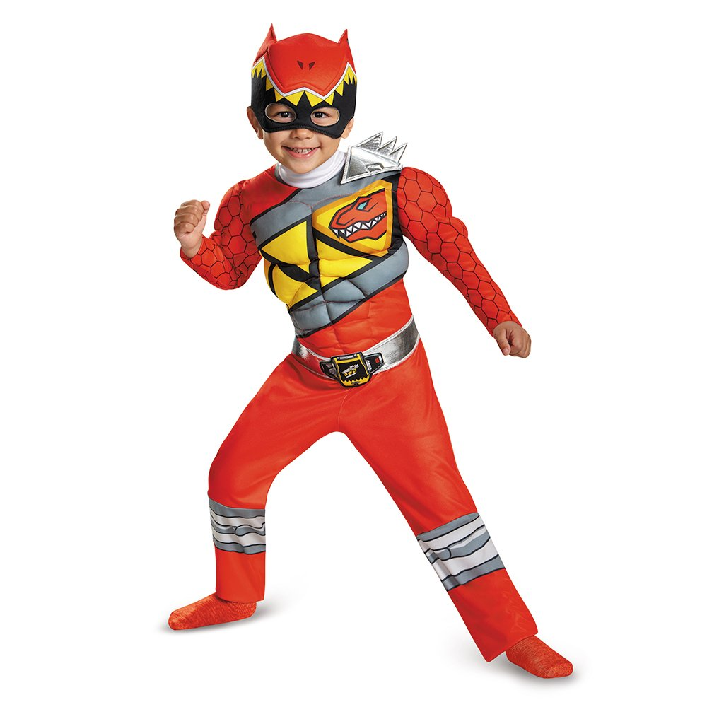 Disguise Red Ranger Dino Charge Toddler Muscle Costume, Medium (3T-4T)