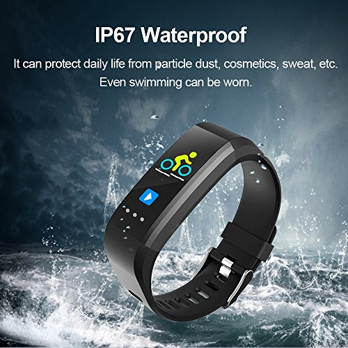 Glumes Bluetooth Smart Watch with heart Blood Pressure Test Heart Rate Monitor Touchscreen Wrist Watch Unlocked Waterproof Smart Watch for Android Samsung IOS Iphone Plus Men Women (Black) by Glumes