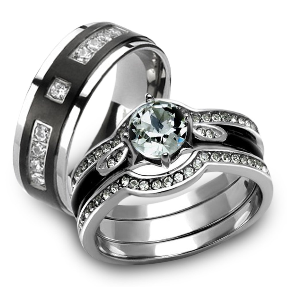 856c6793d691 Amazon.com  Marimor Jewelry Her   His 4pc Silver   Black Stainless Steel    Titanium Wedding Ring Band Set Size Women s 05 Men s 05  Jewelry