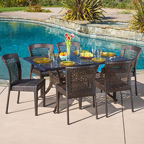 - Christopher Knight Home Florence Patio Furniture ~ Outdoor Cast Aluminum Dining Table with Wicker Patio Dining Chairs (7 Piece)