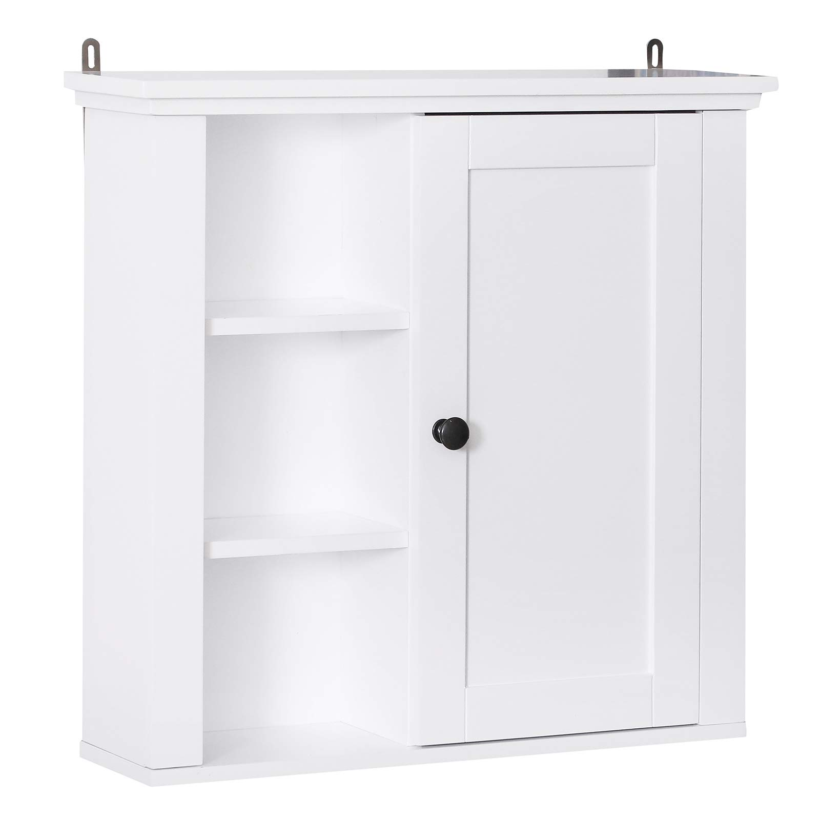 HOMCOM 21'' Wood Wall Mount Bathroom Linen Storage Cabinet - White by HOMCOM