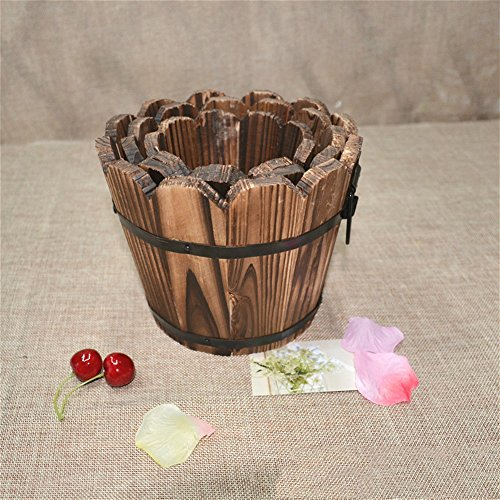 C-Pioneer Wooden Round Barrel Planter Flower Pots Home