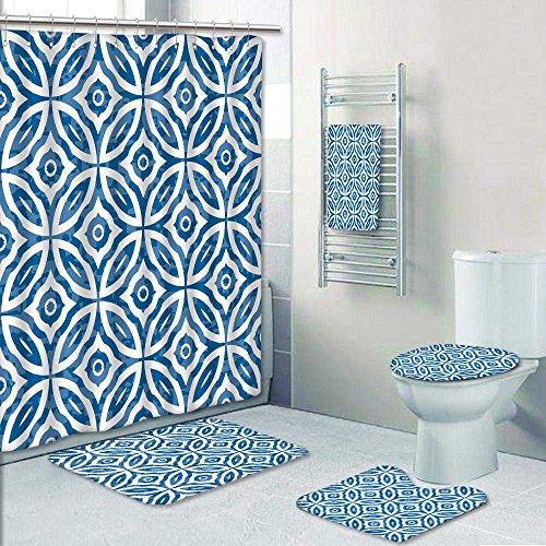 PRUNUSHOME 5-piece Bathroom Set-Includes Shower Curtain Liner,overlap circles background Print Bathroom Rugs Shower Curtain/Bath Towls Sets(Small) (Overlap Print Liner)