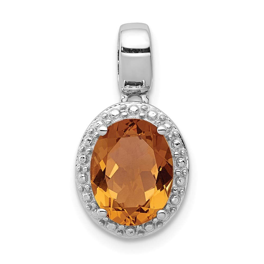 FB Jewels Solid 925 Sterling Silver Rhodium-Plated Whiskey Quartz Oval Pendant