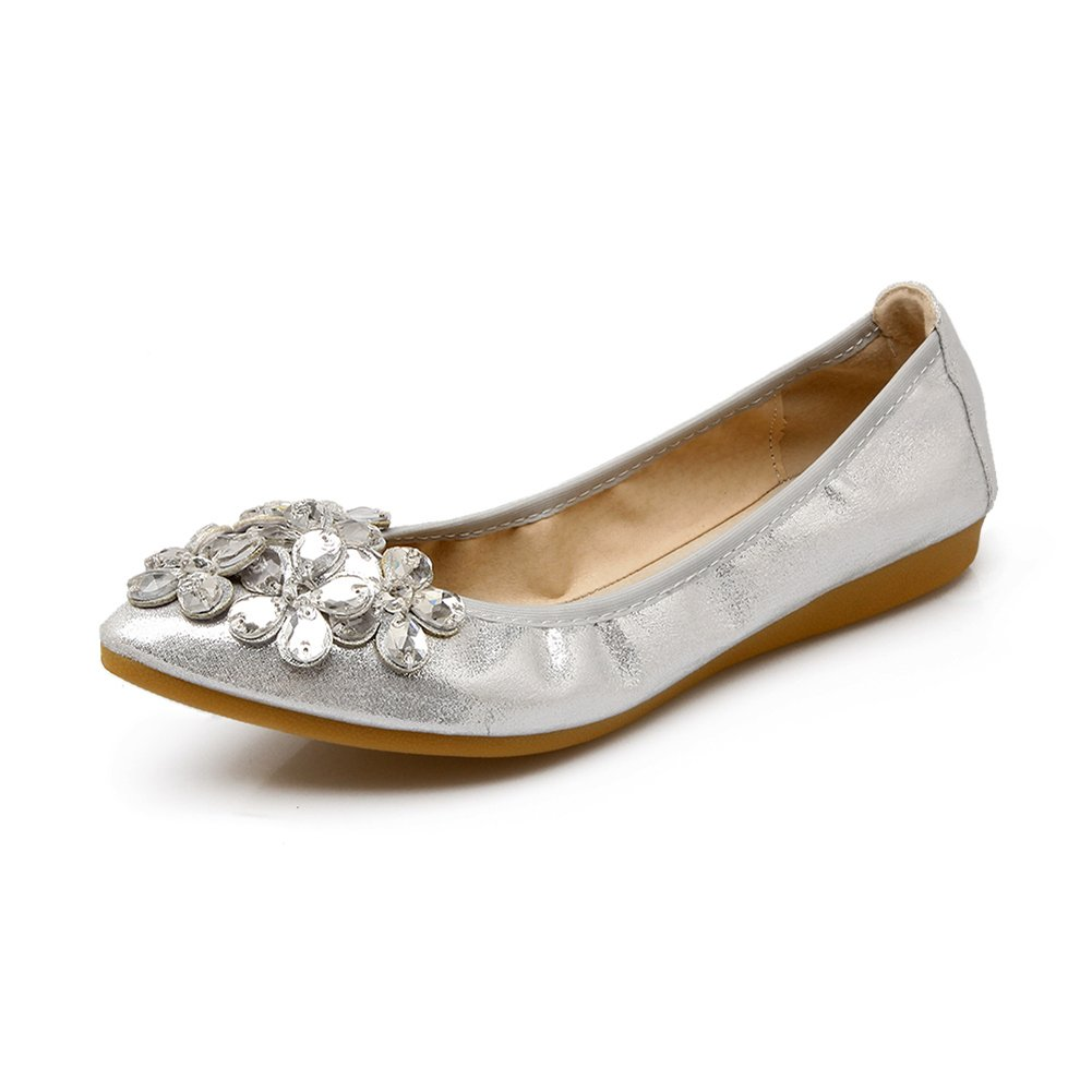KONHILL Women's Foldable Ballet Flats Rhinestone Ballerina Slip on Wedding Shoes, Silver, 38