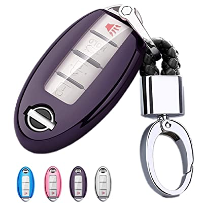 Mofei for Nissan Infiniti Key Fob Cover-Soft TPU Key Fob Case Sleeve Protector Shell Remote Smart Key Holder Jacket with Key Chain for Nissan Armada Murano Rogue Maxima Altima Sedan (Purple Black): Automotive