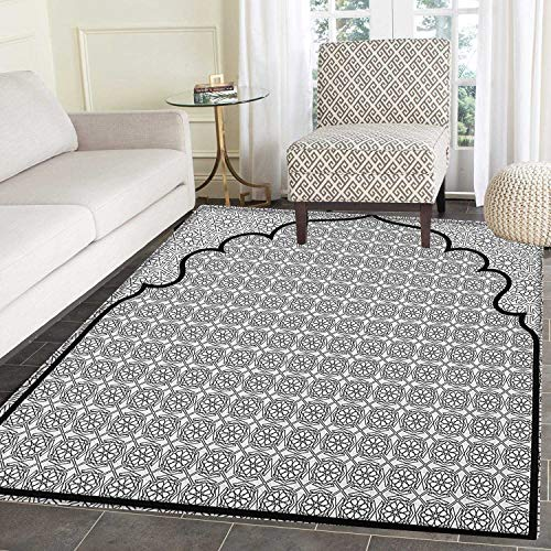 Moroccan Rug Kid Carpet Arabian Art Background with a Group of Traditional Turkish Ottoman Forms Patterns Home Decor Foor Carpe 2'x3' Black -