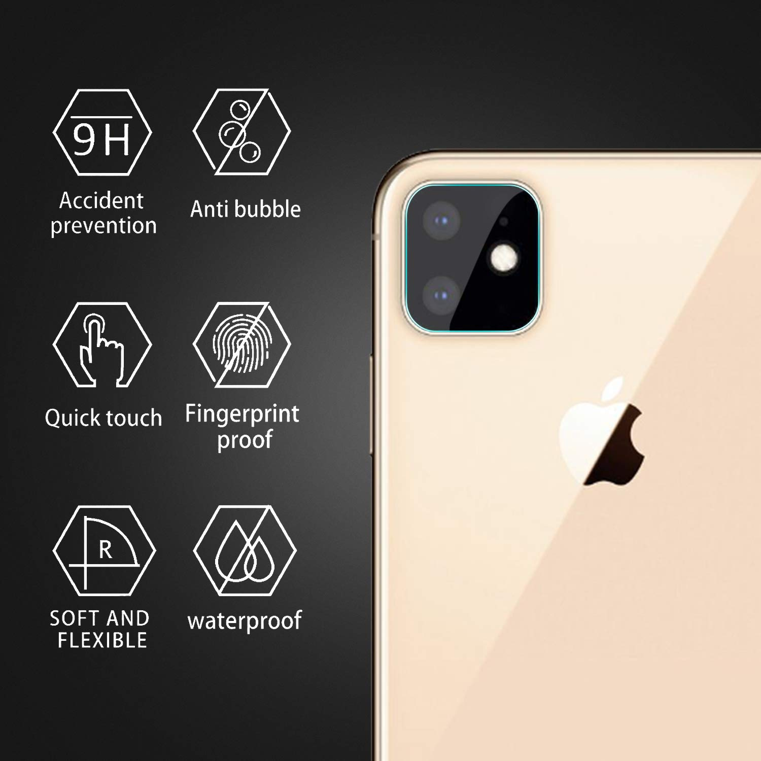4 Pack OEAGO Compatible with iPhone 6.1 inch Screen Protector Camera Lens Tempered Glass Ultra Thin Transparent Clear Camera Lens Protector for IP 11