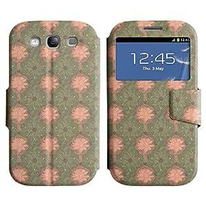 FlareStar Colour Printing cute flower Voltear PU Funda de cuero caso para SAMSUNG Galaxy S3 III / i9300 / i747 III / i9300 / i747
