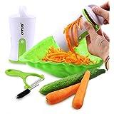 OVOS Vegetable Spiral Slicer Pasta Maker Noodle Spiralizer Stainless Steel Blades With Ceramic Peeler Brush Included
