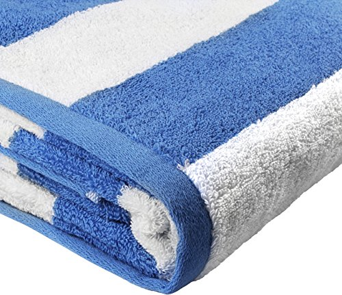 Beach Towel Large Cabana Striped Blue Cotton 35x70