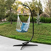 Best Choice Products Metal Hanging Hammock Chair C Stand For Hammock Air  Porch Swing Chair   Black