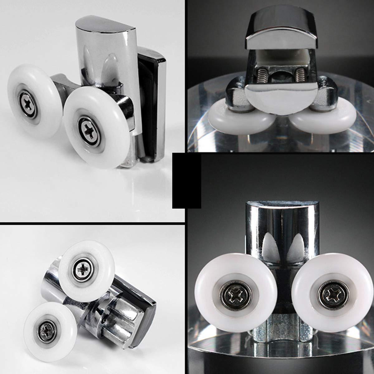 aleaci/ón de zinc, 23 mm de di/ámetro, 2 superiores y 2 inferiores para puertas correderas planas y curvas BigBig Style Rodillos para mampara de ducha
