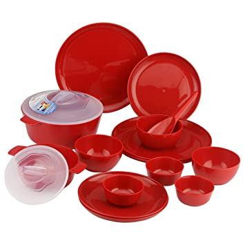 Buy Primeway Microwave Safe Plates Bowls Casseroles Dinner Set 15 Pcs Red Online at Low Prices in India - Amazon.in  sc 1 st  Amazon.in : microwave safe dinner plates - pezcame.com