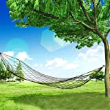 1. Color: Army green 2. Material: High strength nylon rope + chromium iron rings 3. Rope Length: 250cm 4. Rope diameter: about 0.4cm 5. The hammock has two durable metal rings, easy for fixing or you can tie them onto other sturdy object with the nyl...