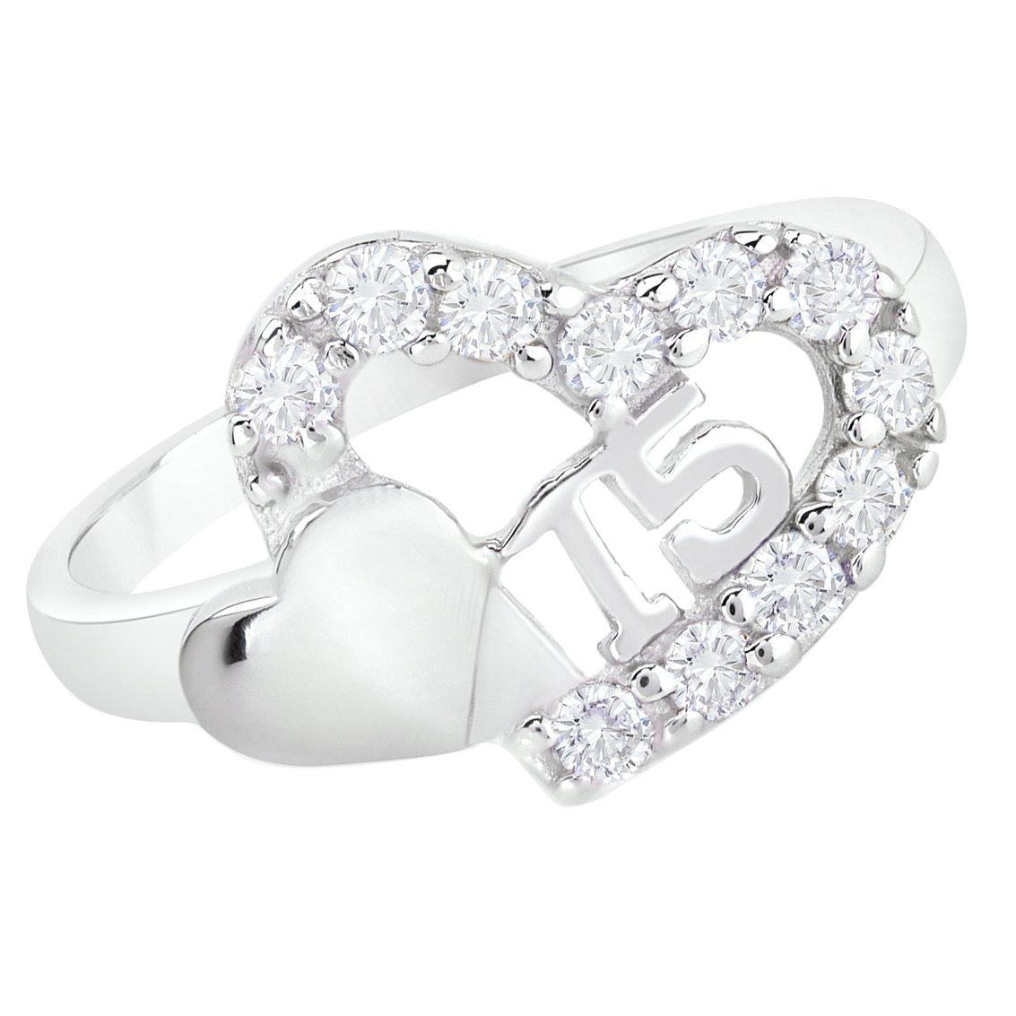 Sweet 15 Quinceanera Cz Double Heart Ring 925 Sterling Silver Rhodium Plated (7)