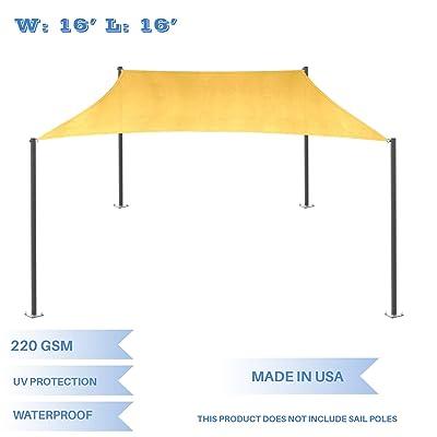 E&K Sunrise 16' x 16' Waterproof Sun Shade Sail-Yellow Rectangle UV Block Durable Awning Perfect for Canopy Outdoor Garden Backyard-Customized : Garden & Outdoor