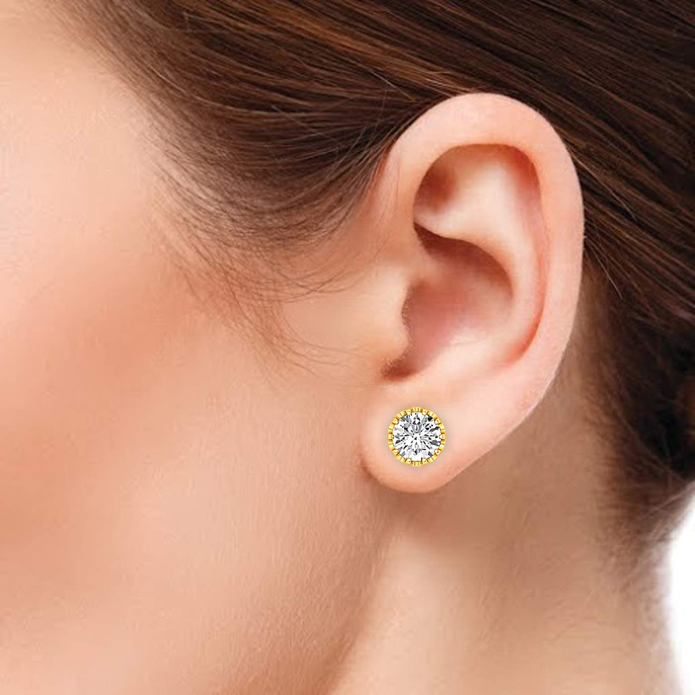 Round Brilliant Stud Earrings for Women perfect Jewelry Gifts for Women Teen Girls Earring Studs 0.3 to 4 Carat Moissanite Stud Earrings GH//VVS 18K yellow-gold