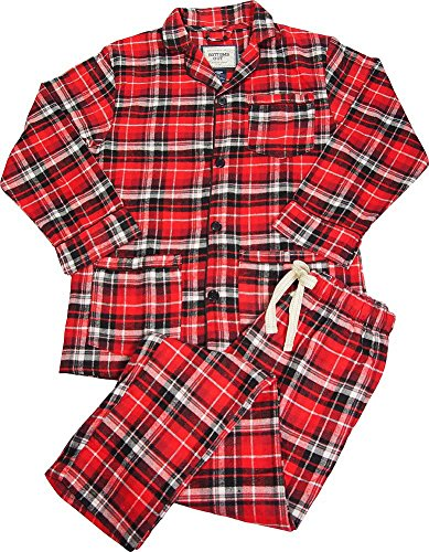 B O P J - Mens Long Sleeve 2 Piece Plaid Flannel Pajamas, Red, Black - Piece Button Pajamas 2 Flannel