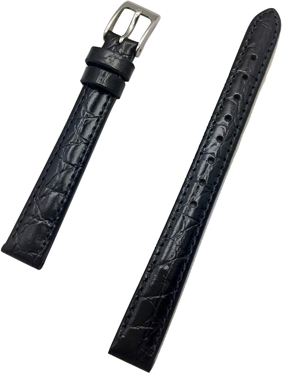 12mm Long, Black Genuine Leather Watch Band | Round Alligator Crocodile Grain, Lightly Padded Replacement Wrist Strap that brings New Life to Any Watch (Womens Long Length)
